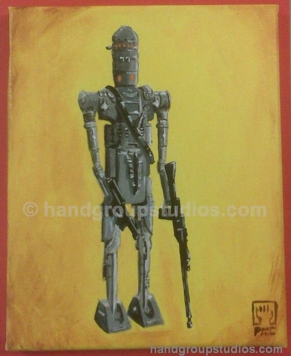 "Star Wars IG-88 Droid Toy Figure Painting ""The Can Man Can"" Original Artwork by Pete Coe"