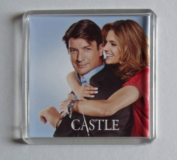 Castle quote Nathan Fillion Stana Katic TV poster square fridge magnet New Susan Sullivan, Jon Huertas, Molly C. Quinn, Seamus Dever