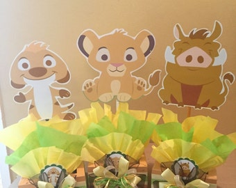 Baby Lion King inspired Centerpiece, Simba, Pumba, Nala, Timon Centerpeices,  Baby shower