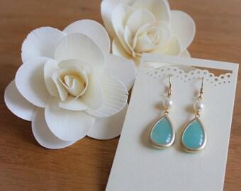 Mint Aventurine Glass Stone Earrings (E02-01)