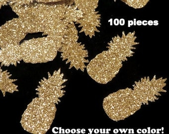 Pineapple confetti, tropical Luau decorations, ready in 3 to 5 weekdays, glitter pineapples, beach wedding, summer, gold pineapples, Hawaii