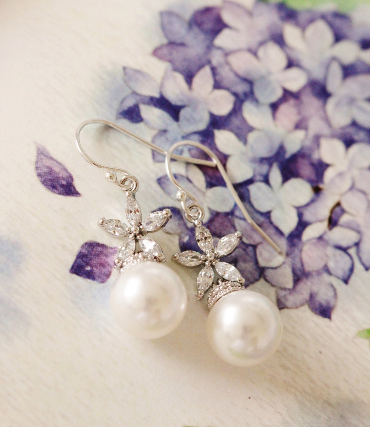 Pearl Bridal Earrings Romantic Wedding Jewelry Bridesmaid Gift Cherry ...