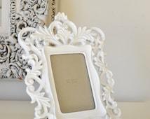 Ornate White Baroque 4 x 6 Frame