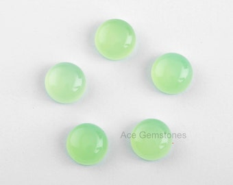 Loose Gemstone Cabochon Green Chalcedony Smooth Round 10mm AAA Grade - 5 Pcs.