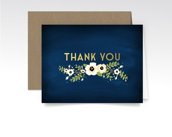 ALYSSA. Thank You Custom Cards & Envelopes . Gold Navy Chalkboard Anemone Magnolia Green Garland . Printed Heavy Weight Premium Folded Cards
