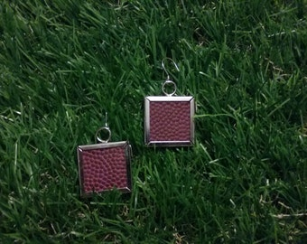 Football Earrings- Glass Back- Classic- Square 1 inch