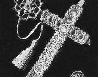 PDF Instant Download - 3 Vintage Tatted and Crochet Cross Bookmarks Patterns