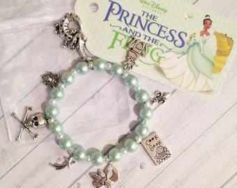 Princess Tiana Charm Bracelet Princess and the Frog Birthday Bracelet Princess Tiana handmade pearl charm bracelet