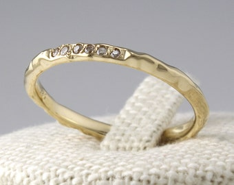 14K Solid Gold Thin Diamond Eternity Band, 14K Solid Gold Diamond Wedding Band, Champagne Cognac DiamondEngagement Ring, 14K Stackable Ring