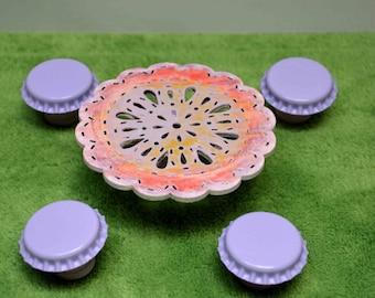 Miniature Patio table set, Fairy Garden Patio set, Dollhouse Patio Set, Miniature Garden Patio Furniture, Bottle cap stool and table set