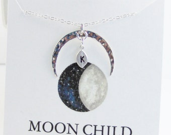 Moon Child necklace,Moon Necklace,Leaf Necklace,Initial Necklace,Custom Jewlery,Initial Necklace,Leaf Jewelry,Moon Jewelry