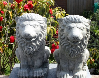 Classic Windsor Lions - Gatepost Lions - Stone Garden Ornament Statue - Made in Cornwall by The Cornwall Stoneware Company