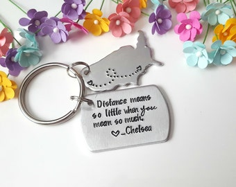 Long Distance Relationship Keychain, Long Distance Love, Long Distance Boyfriend Gift, Long Distance Best Friend Gift, Going Away Gift