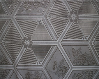 Silver and dove grey Japanese obi fabric. Sold per 1/2 m