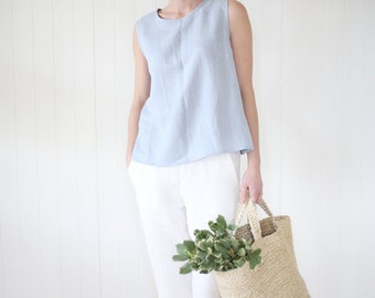 Japanese style linen pants with side pockets. Washed soft linen women's trousers with elastic waist.