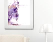 Ballerina Watercolor Print, Watercolor Painting Art Print, Dancing Ballerina in Purple