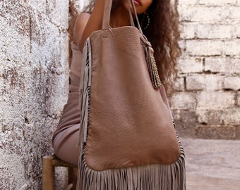 Gueliz Fringe Leather Tote