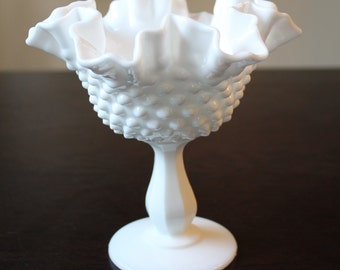 Vintage Hobnail Milk Glass Compote Dish, Candy Dish