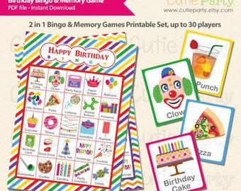 Birthday Party Theme Bingo & Memory Game, Birthday Theme Printable Bingo Game, 2 in 1 Happy Birthday Bingo and Memory Game