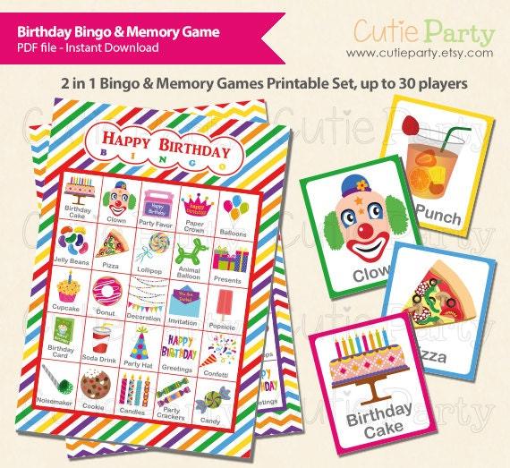 Birthday Party Theme Bingo & Memory Game Birthday Theme
