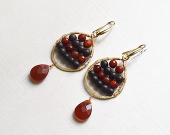 Drop earrings golden brown and dark orange