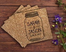 Wedding Mason Jar Cork Coaster | Mason Jar Theme Wedding | Save The Date Mason Jar | 4 Pack Cork Coasters