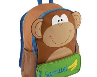 Stephen Joseph Sidekick Backpack Monkey Monogrammed School Backpack