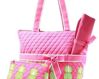 Pineapple Print Monogrammed Diaper Bag Pink Trim