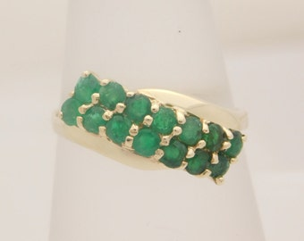 Ladies Round Cut Emerald Ring 10K Yellow Gold
