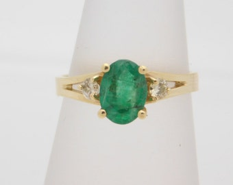 1.41 Carat T.G.W. Ladies Oval Cut Emerald& Diamond Ring 14K Yellow