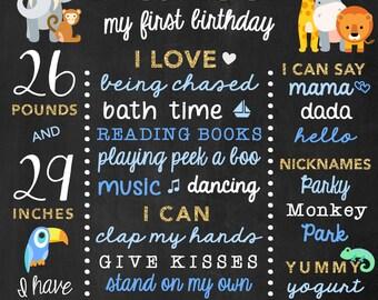 Zoo Birthday Chalkboard - Safari 1st Birthday Board - Jungle Birthday Sign - Zoo Chalkboard - Safari Chalk Board - Jungle Animals - Boys