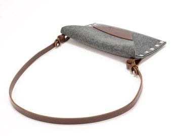 Felt Clutch, Women's Clutch Bag, Felt Shoulder Bag, Party Bag, Evening Bag, Grey Clutch, Handbag, Felt Handbag, Gift for Her, Night Out Bag
