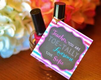 Teacher Valentine Gift Teacher Personalized Gift Nail Polish Tags DIY Printable