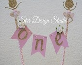 "Ballerina Cake topper ""One""  Pink and Gold  Cake Topper Birthday bunting- Glitter Gold and Pink, Any age and name available"