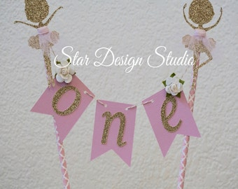 """Ballerina Cake topper """"One""""  Pink and Gold  Cake Topper Birthday bunting- Glitter Gold and Pink, Any age and name available"""