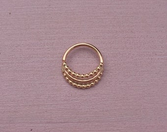 Iris Septum Ring - Solid 9ct Rose Gold - Jewelry Ring Daith Helix Rook Piercing