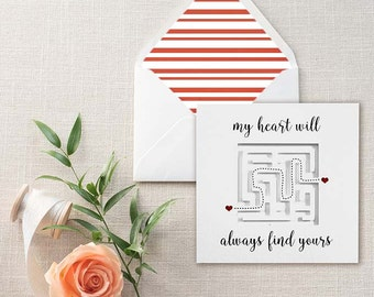Anniversary Gift, Long Distance Relationship or I Love You Maze Handmade Greeting Card {SP1614}