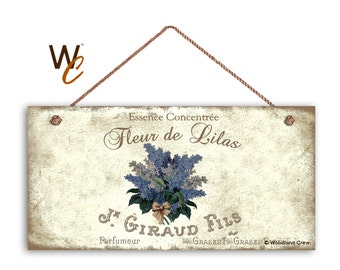 """Fleur de Lilas French Sign, Vintage Style French Floral Sign, Rustic French Market, Weatherproof, 5"""" x 10"""" Sign, Gift For Her, Made To Order"""