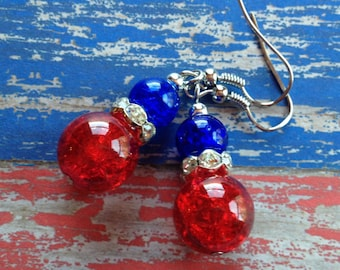 Patriotic Earrings, 4th of July Earrings, Red and Blue Earrings, Jewelry, Womens Jewelry