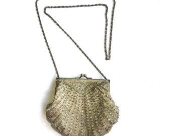 Silver beaded chain purse