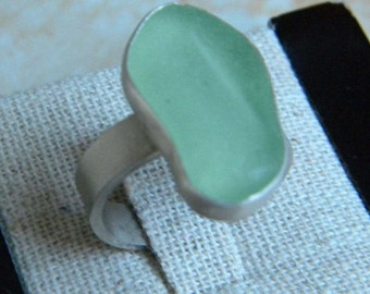 Soft Green (Coca-Cola) Sea Glass Ring - Size 7