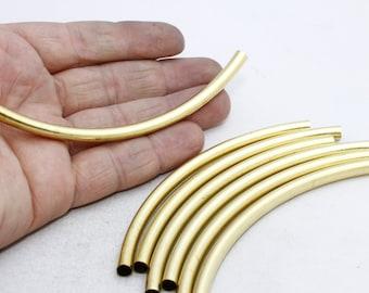 6 Pcs 6x110mm Raw Brass Curved Tubes, Brass Tubes , Round Tubes , TBR14