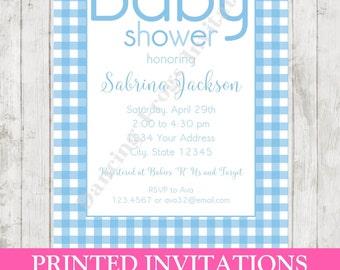 Blue Gingham Baby Shower Invitation - Blue Gingham - Printed Baby Shower Invitation by Dancing Frog Invitations