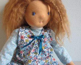 "Tara doll with real lambskin wig, pinafore and sky blue dress. 15"""
