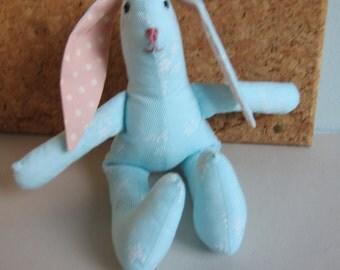 Blue Purzel Easterbunny, Easter rabbit, 13 in stuffed fabric doll,
