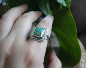 Turquoise Ring Handmade, Sterling Silver, Square Ring, Square Turquoise, Green Turquoise, Layered silver, handmade gift for her