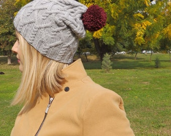 Cable and pom pom knitted hat, ready to ship, Slouchy hat, CableHat