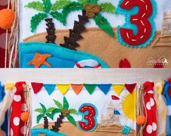 Pool Party Birthday Banner, Beach Birthday Banner, Beach Highchair Banner, Beach Birthday Invitation, 1st Birthday Banner, Beach Party