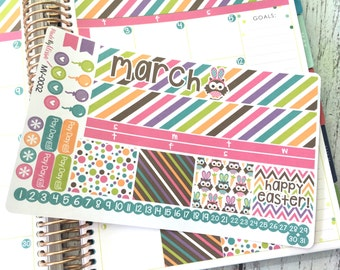 MV-0002 - March Monthly View Kit (EC) // Kiss-Cut Planner Stickers