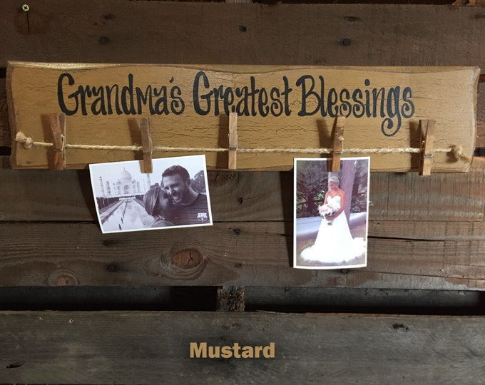 """PHOTO Holder Sign GRANDMAS Greatest Blessings Reclaimed Wood 24"""" Picture Frame Gift for Grandma Grandkids Family Rustic Clothes Pins Clips"""
